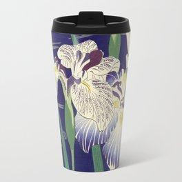 Irises byTsukioka Kôgyo Japanese Woodcut Travel Mug