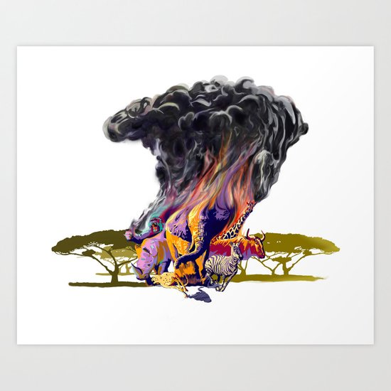 Africa Up In Smoke Art Print