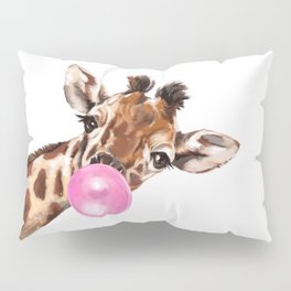 Bubble Gum Sneaky Giraffee Pillow Sham