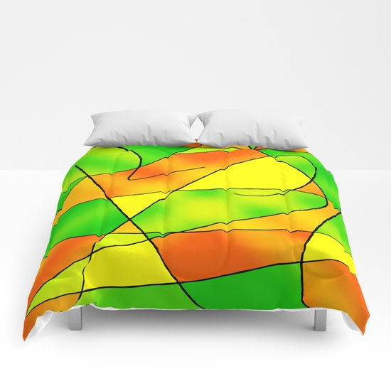 ABSTRACT CURVES #2 (Greens, Oranges & Yellows) Comforters