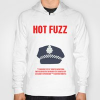 movie poster Hoodies featuring Hot Fuzz Movie Poster by FunnyFaceArt