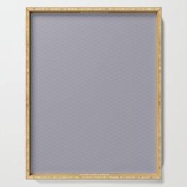 Pantone Lilac Gray Multi Striped Tiny Scallop Wave Pattern Serving Tray