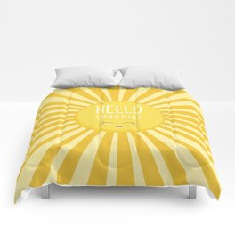 KAWAII SKY - happy smiling sun - hello sunshine quote Comforters