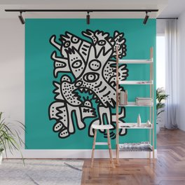 Green Acqua Street Art Black and White Creatures Wall Mural