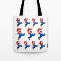 mario Tote Bags featuring Mario by Maxvision