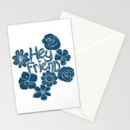 Hey Friend - floral white, teal & blue typography design Stationery Cards