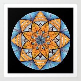Sapphire-Gold Mandala (on black) Art Print
