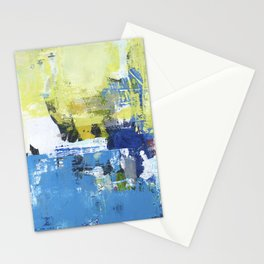 Parakeet Blue Yellow Abstract Art Stationery Cards