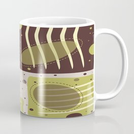 Mid Century Modern Abstract Print Geometric Circles and Rectangles Green and Brown Coffee Mug