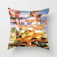 xena Throw Pillows featuring Glitch Pin-Up Redux: Xena by Wayne Edson Bryan
