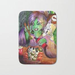 alien girl eating sushi and cat Bath Mat