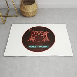 Red Neon Drum Set TEXT: Make Music in Aqua Rug
