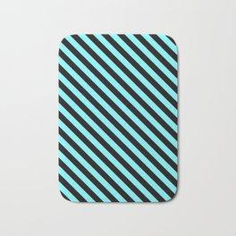 Electric Blue and Black Diagonal LTR Stripes Bath Mat