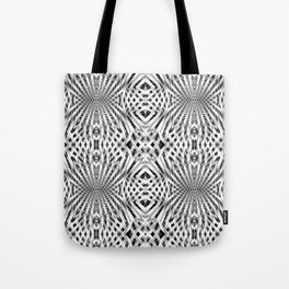 White Geometric Weave Tote Bag