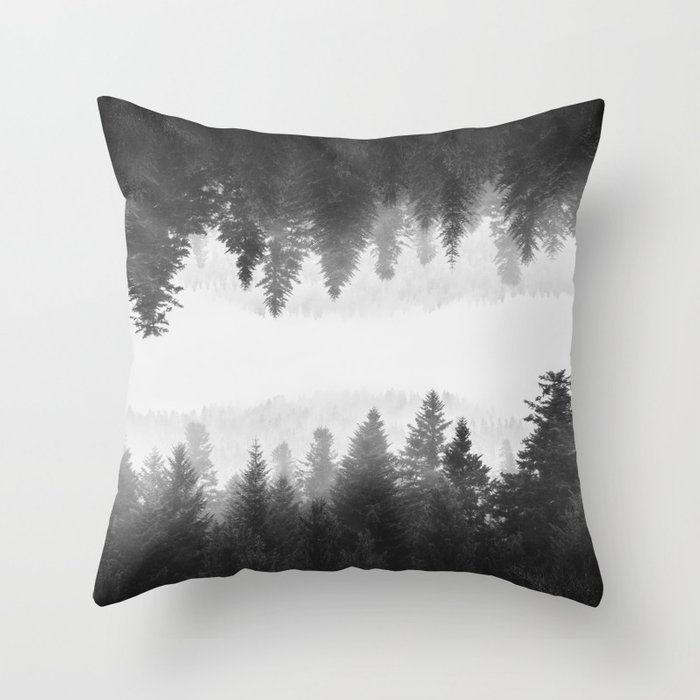 Black and white foggy mirrored forest Throw Pillow