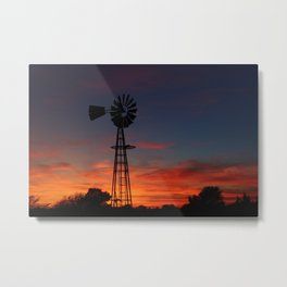 Kansas Bright and Colorful Windmill silhouette Metal Print