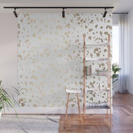 Luxe Gold Painted Dots on White Wall Mural
