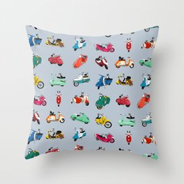 Boogie On Scooters Throw Pillow