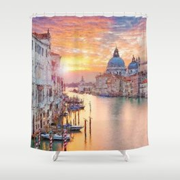 Venice, Italy Grand Canal Sunset landscape painting Shower Curtain