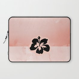Black flower on pink background Laptop Sleeve