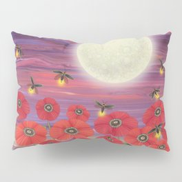 purple sky, fireflies, snails, and poppies Pillow Sham