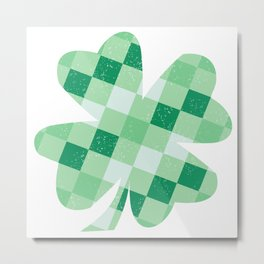 Checkered Shamrock. Four Leaf Clover. St Patrick's Day Metal Print