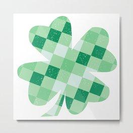 Checkered Shamrock. Four Leaf Clover. St Patrick's Day Metal Print