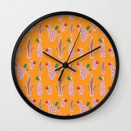 Mid Mod Cactus Yellow Wall Clock