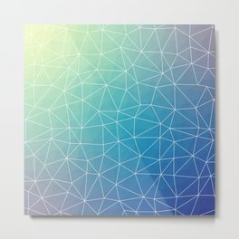 Abstract Blue Geometric Triangulated Design Metal Print