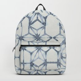 Simply Shibori Stars in Indigo Blue on Lunar Gray Backpack