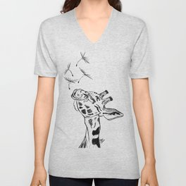 Giraffe blowing dandelion seeds Unisex V-Neck