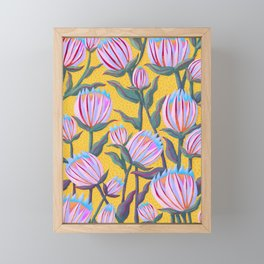Bold Protea Flower Pattern - Pink Blue Green Purple Yellow Framed Mini Art Print