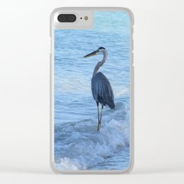 Oceans Great Blue Heron Clear iPhone Case