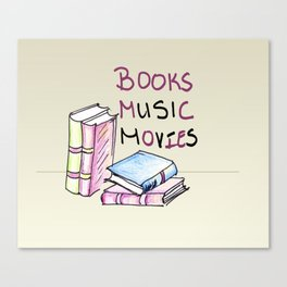 Books Music Movies Canvas Print