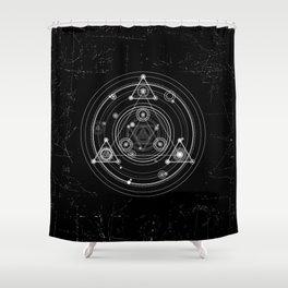 Sacred geometry black and white geometric art Shower Curtain