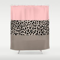 the national Shower Curtains featuring Leopard National Flag XVI by M Studio