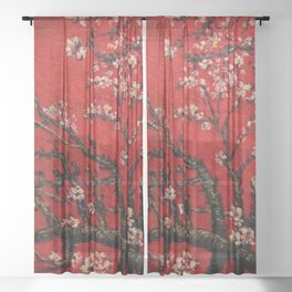 Almond Tree in Blossom - Red Motif by Vincent van Gogh Sheer Curtain