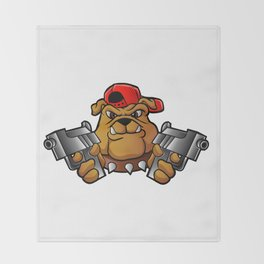 gangster bulldog  with pistols Throw Blanket