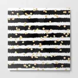 Modern black watercolor stripes chic gold confetti Metal Print