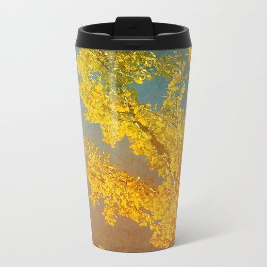 Yellow Ginkgo Tree in Autumn Metal Travel Mug