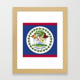 Belize flag emblem Framed Art Print