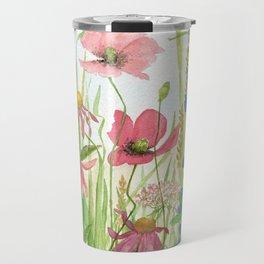 Watercolor Garden Flower Poppies Lupine Coneflower Wildflower Travel Mug