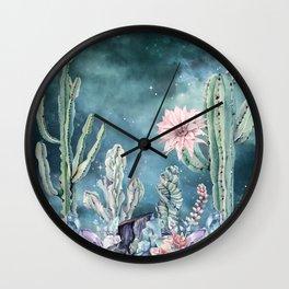Desert Nights Gemstone Oasis Teal Night Sky Wall Clock