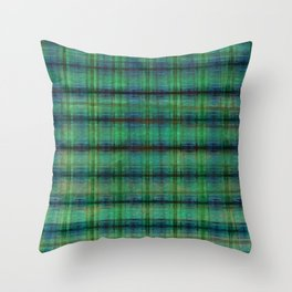 Forest Straw Plaid On Frozen Lake Throw Pillow