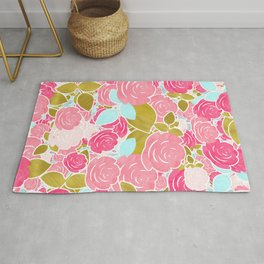 Pink Roses with Aqua & Gold Chic Watercolor Floral Rug