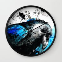 raven Wall Clocks featuring raven by Katja Main