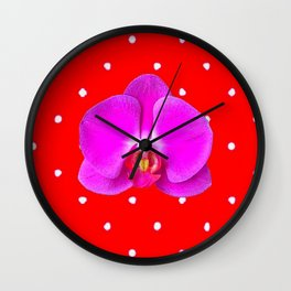 Chinese Red & Violet Accents Color Orchid Flower Pattern Art Wall Clock