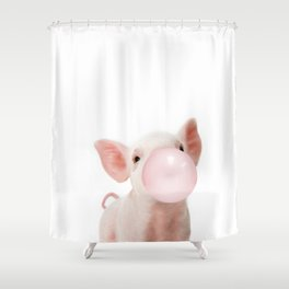 Bubble Gum Baby Pig Shower Curtain