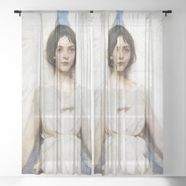 Beautiful Angel With White Wings Sheer Curtain