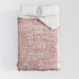 cafe buildings pink Duvet Cover